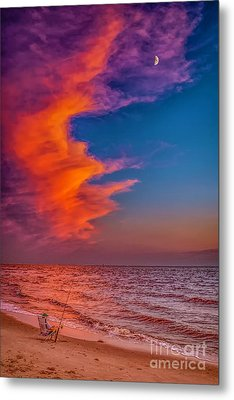 Metal Print featuring the photograph Evening Fishing On The Beach by Nick Zelinsky