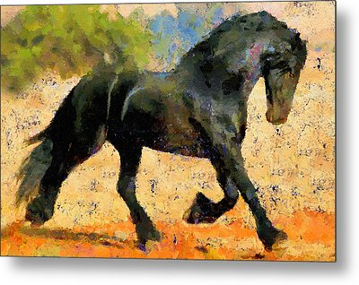 Ebony The Horse - Abstract Expressionism Metal Print by Georgiana Romanovna