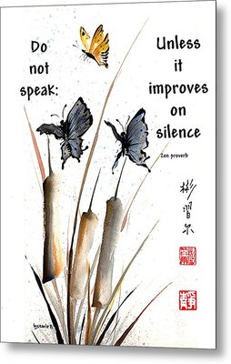Echo Of Silence With Zen Proverb Metal Print