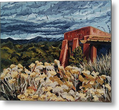 Metal Print featuring the painting Echoes Of Tularosa, Museum Hill, Santa Fe, Nm by Erin Fickert-Rowland