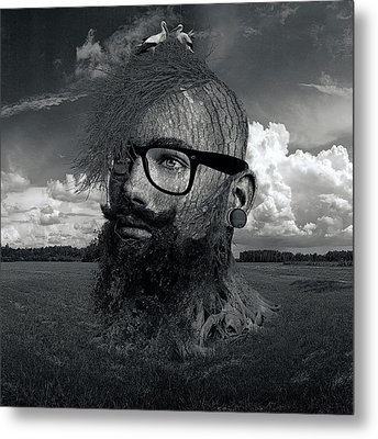 Eco Hipster Black And White Metal Print by Marian Voicu