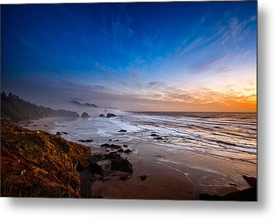 Ecola State Park At Sunset Metal Print by Ian Good