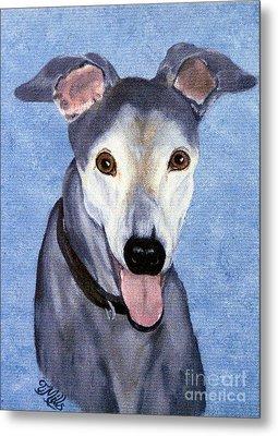Metal Print featuring the painting Eddie - Greyhound by Terri Mills