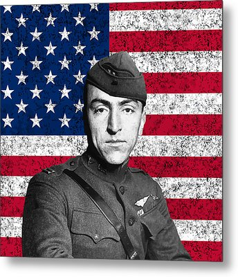 Eddie Rickenbacker And The American Flag Metal Print by War Is Hell Store