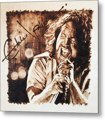 Metal Print featuring the pyrography Eddie Vedder by Lance Gebhardt