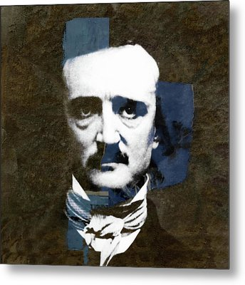 Metal Print featuring the mixed media Edgar Allan Poe  by Paul Lovering