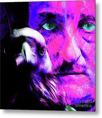 Edgar Allan Poe The Eyes Of The Ravens 20160430 V3 M88 Square Metal Print by Wingsdomain Art and Photography