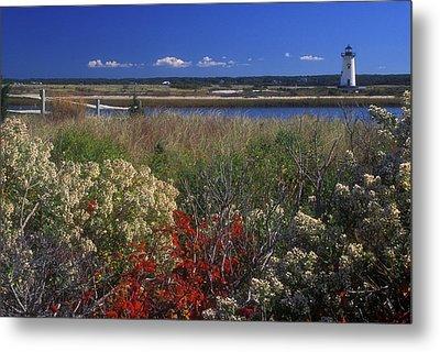 Edgartown Lighthouse Autumn Flowers Metal Print by John Burk