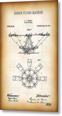 Edison Flying Machine Patent  1910 Metal Print by Daniel Hagerman