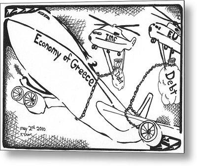 Editorial Maze Cartoon - Economy Of Greece By Yonatan Frimer Metal Print by Yonatan Frimer Maze Artist