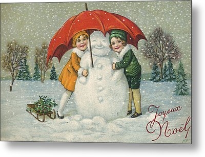Edwardian Christmas Card Metal Print