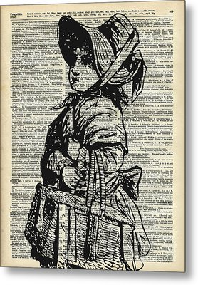 Edwardian Girl With Basket Metal Print by Jacob Kuch