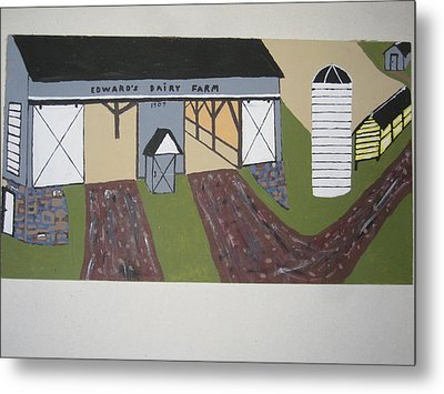 Metal Print featuring the painting Edwards Dairy Farm by Jeffrey Koss