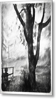 Tree In The Mist Metal Print