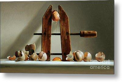 Egg And Shells With Wood Clamp Metal Print