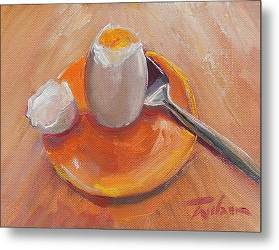 Egg And Spoon Metal Print by Ron Wilson