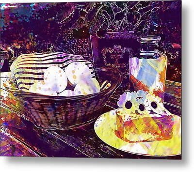 Metal Print featuring the digital art Egg Milk Butter Out Garden Herbs  by PixBreak Art