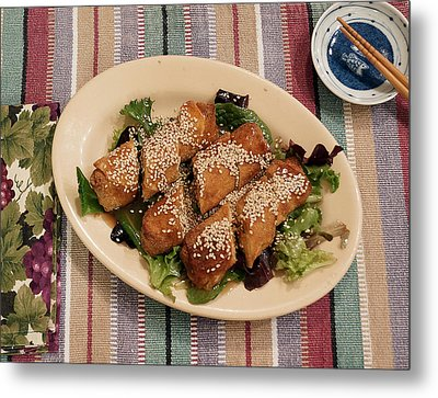 Metal Print featuring the digital art Egg Rolls And Sesame by Jana Russon