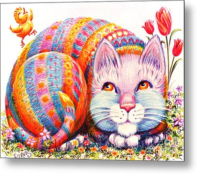 Metal Print featuring the drawing Eggbert by Dee Davis