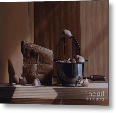 Eggs And Cardboard Metal Print by Larry Preston