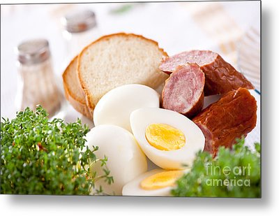 Eggs And Sausage Traditional Easter Food Metal Print