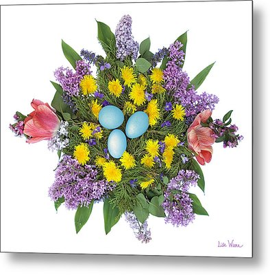 Eggs In Dandelions, Lilacs, Violets And Tulips Metal Print by Lise Winne