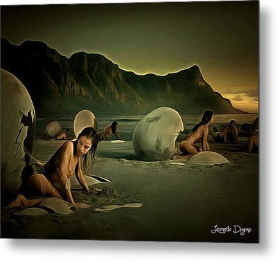 Eggs In The Beach - Da Metal Print