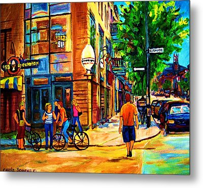Metal Print featuring the painting Eggspectation Cafe On Esplanade by Carole Spandau