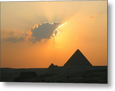 Egpytian Sunset Behind Cloud Metal Print by Donna Corless
