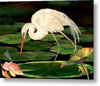 Egret Fishing In Lily Pads Metal Print by Anne Beverley-Stamps