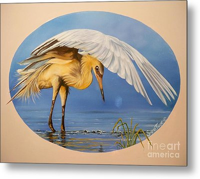 Metal Print featuring the painting Egret Fishing by Sigrid Tune