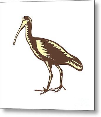 Egret Heron Crane Side Woodcut Metal Print by Aloysius Patrimonio