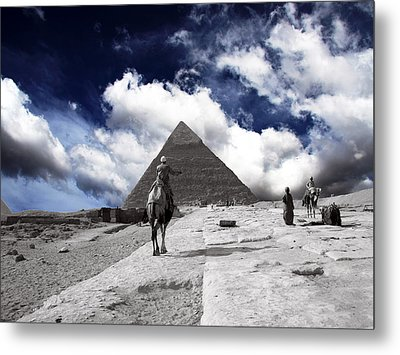 Egypt - Clouds Over Pyramid Metal Print by Munir Alawi