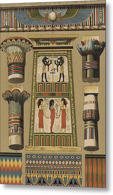 Egyptian, Architecture And Painting Metal Print by Egyptian School