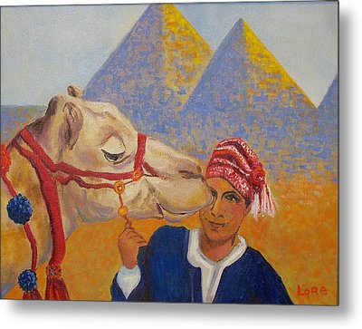 Egyptian Boy With Camel Metal Print by Lore Rossi