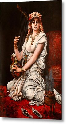 Egyptian Lady With Harp Metal Print
