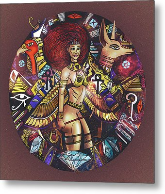 Egyptian Warrior Goddess Solaire Metal Print by Kenal Louis