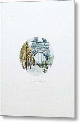 Eiffel In January Metal Print by Venie Tee
