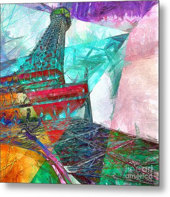 Eiffel Tower Abstract Metal Print by Edward Fielding
