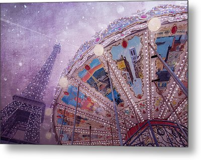 Metal Print featuring the photograph Eiffel Tower And Carousel by Clare Bambers