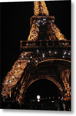 Metal Print featuring the photograph Eiffel Tower At Night by Nancy Taylor