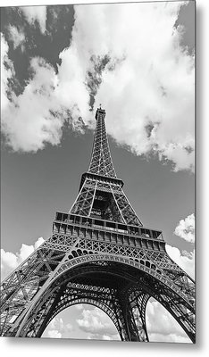 Eiffel Tower - Black And White Metal Print by Melanie Alexandra Price