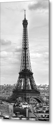 Eiffel Tower Black And White Metal Print by Melanie Viola