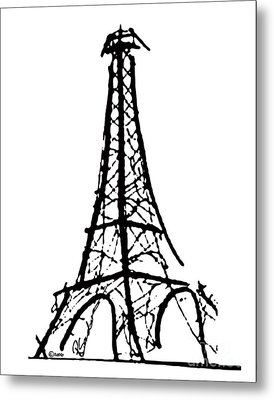 Eiffel Tower Black And White Metal Print by Robyn Saunders