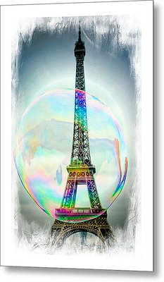 Eiffel Tower Bubble Metal Print