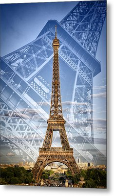 Eiffel Tower Double Exposure II Metal Print by Melanie Viola