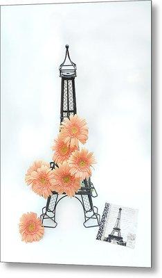 Eiffel Tower Peach Gerber Daisies Cottage Decor - Eiffel Tower Floral Daisies Still Life Decor Metal Print