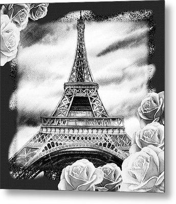Eiffel Tower In Black And White Design IIi Metal Print by Irina Sztukowski