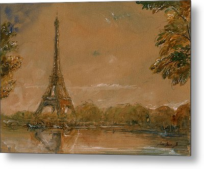 Eiffel Tower Paris Watercolor Metal Print by Juan  Bosco
