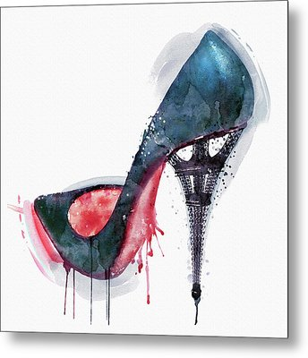 Eiffel Tower Shoe Metal Print by Marian Voicu